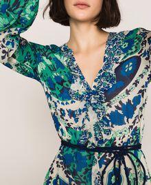 Robe longue en crêpe georgette imprimé paisley Imprimé Paisley Saphir / Bleu Femme 201TP2533-05