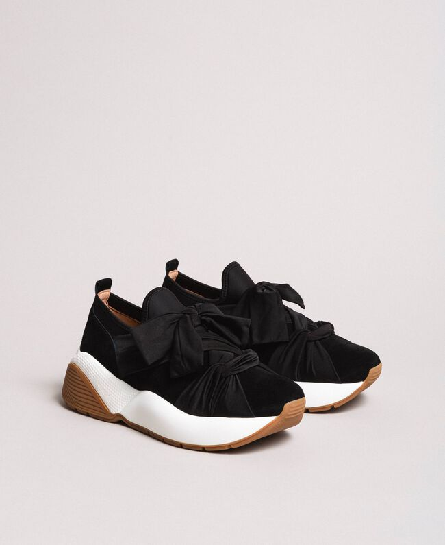 Giant bow textile trainers Black Woman 191TCP154-03