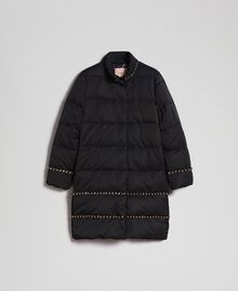 Quilted long puffer jacket with chains Black Woman 192TP2141-0S