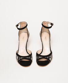 Leather sandals with python print Two-tone Pale Rock Python Print / Black Woman 201TCP022-05