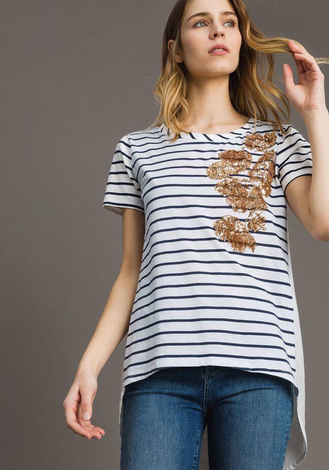 Gestreiftes T-Shirt mit Pailletten