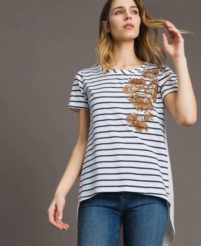 """Gestreiftes T-Shirt mit Pailletten Motiv """"Savannah"""" Beige / Cremeweiß Gestreift Frau 191ST2090-01"""