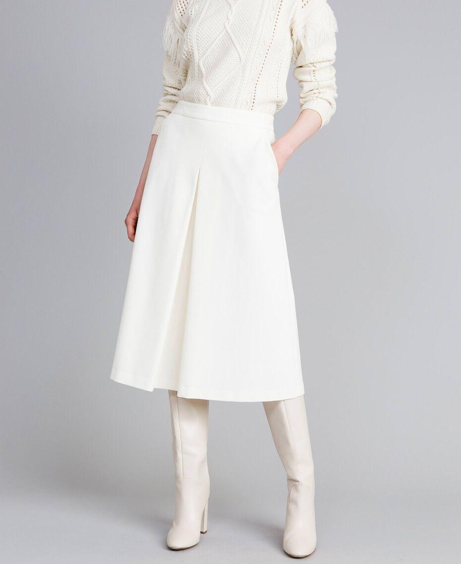 Jupe mi-longue en point de Milan Blanc Neige Femme PA8213-01