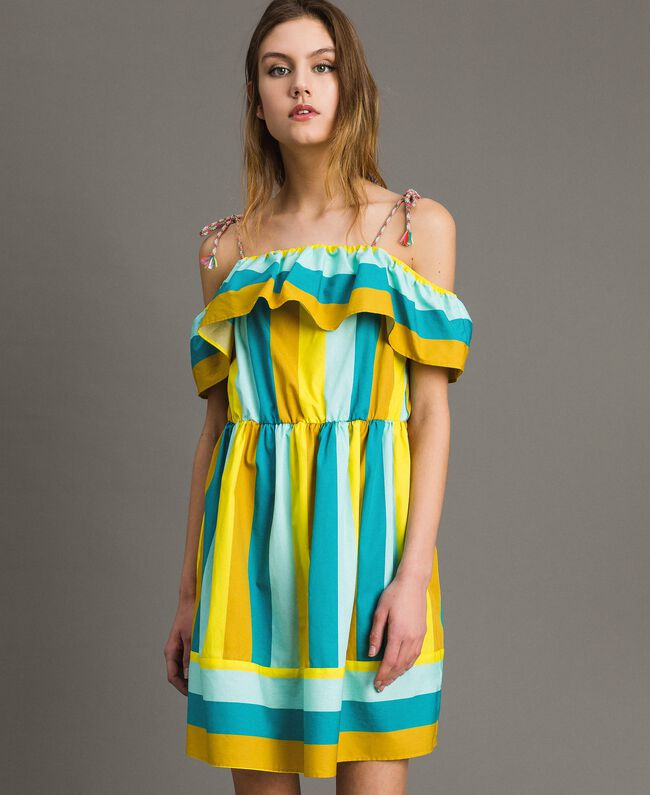 Mehrfarbig gestreiftes Popeline-Kleid Multicolour Motiv Keramikblau Frau 191TT2412-01