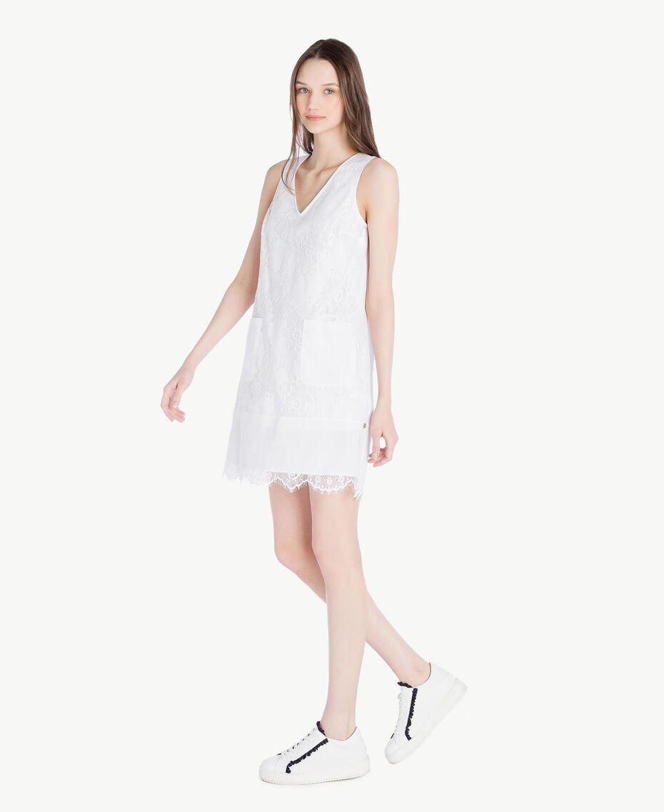 Kleid mit Spitze Weiß Frau SS82J4-02