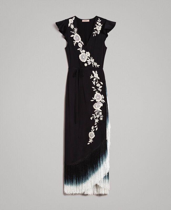 3487ddc0c4f Robe longue avec broderie florale et franges Noir Femme 191TT2135-0S