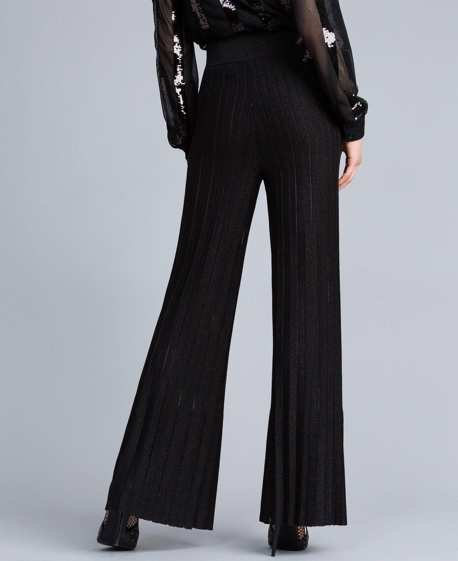 Pantalon large en maille plissée lurex Noir Lurex Femme PA83CE-02