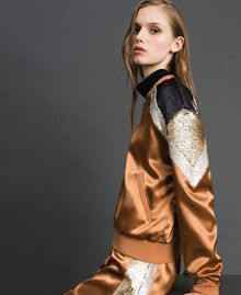 "Satin bomber jacket with sequins ""Camel Skin"" Beige Woman 192LI2RAA-04"