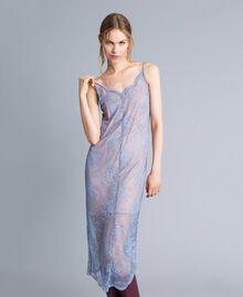 Robe nuisette en dentelle avec feston Bleu ciel Femme SA82HS-02