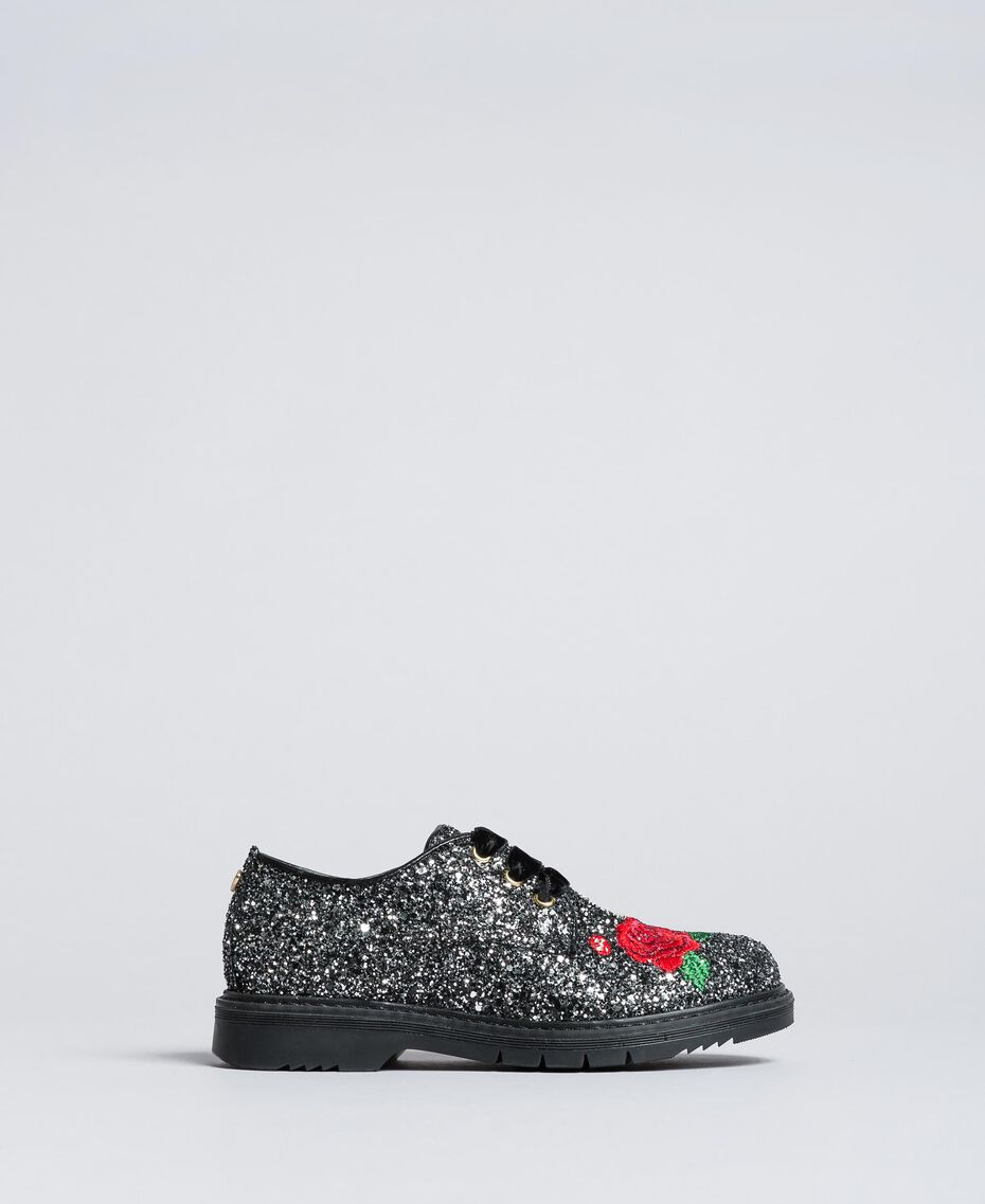 Embroidered lace-up shoes with glitter Bicolour Black / Silver Glitter Child HA88C5-02
