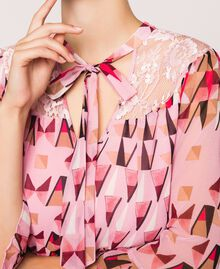 "Printed georgette dress with lace ""Candy"" Pink Geometric Print Woman 201ST2180-04"