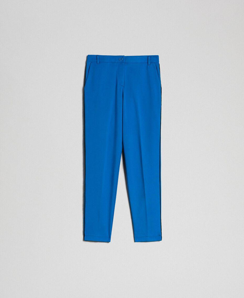 Pantalon cigarette avec bandes en velours Bleu Japonais Femme 192MP2173-0S