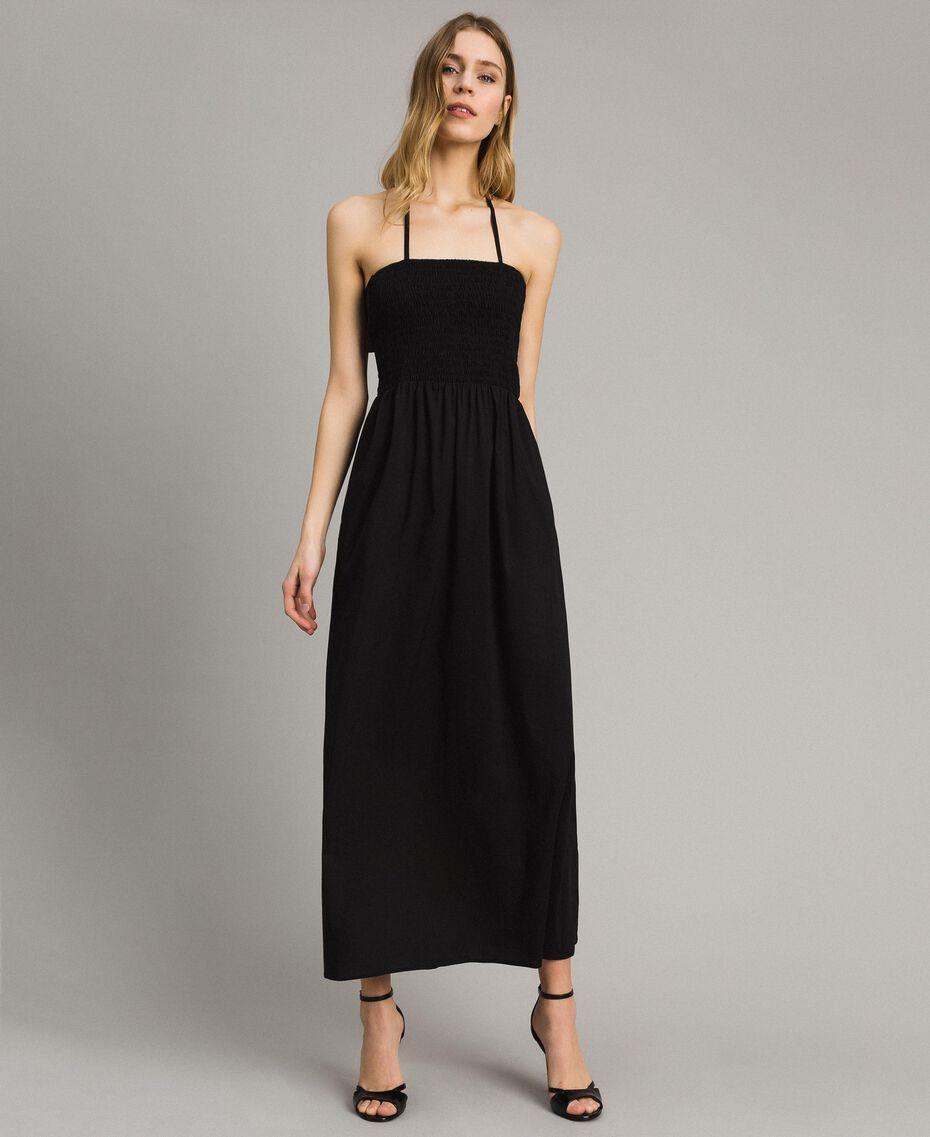 Robe longue en popeline Noir Femme 191LM2CHH-02