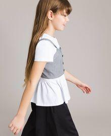 T-shirt en jersey avec top en vichy Bicolore Blanc Optique / Vichy Enfant 191GJ2730-02