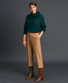 Cigarette trousers in technical wool Camel Woman 192TT2455-01