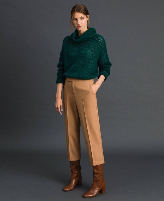 Pantalon cigarette en laine technique
