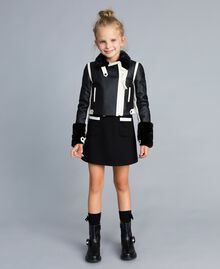 Giacca in similpelle bicolore Bicolor Nero / Off White Bambina GA82BU-0S