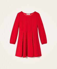 Robe avec plis et satin Rouge Cerise Enfant 202GJ2153-0S