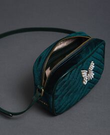 Velvet shoulder bag with butterfly Dark Green Woman 192TA7091-04