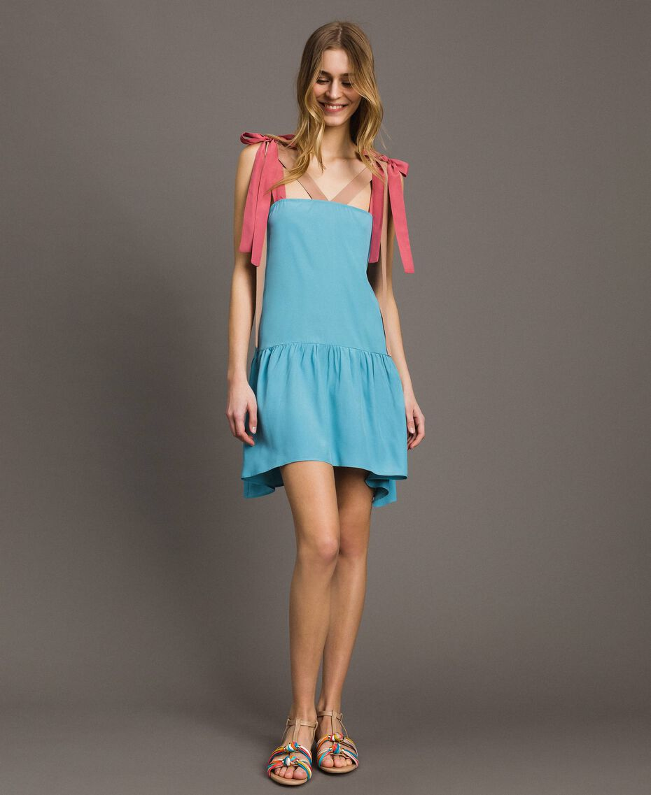 "Vestido mini color block Multicolor Rosa ""Tender Rose"" / Azul Daylight / Beige Porcelana Mujer 191LM2HMM-01"