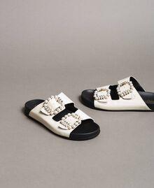 Leder-Sandalen mit Schnallen und Perlen Weiß Schnee Frau 191TCT09A-01