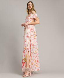 Robe longue en georgette à imprimé papillon Imprimé Papillon Rose Mixte Femme 191TT2391-02
