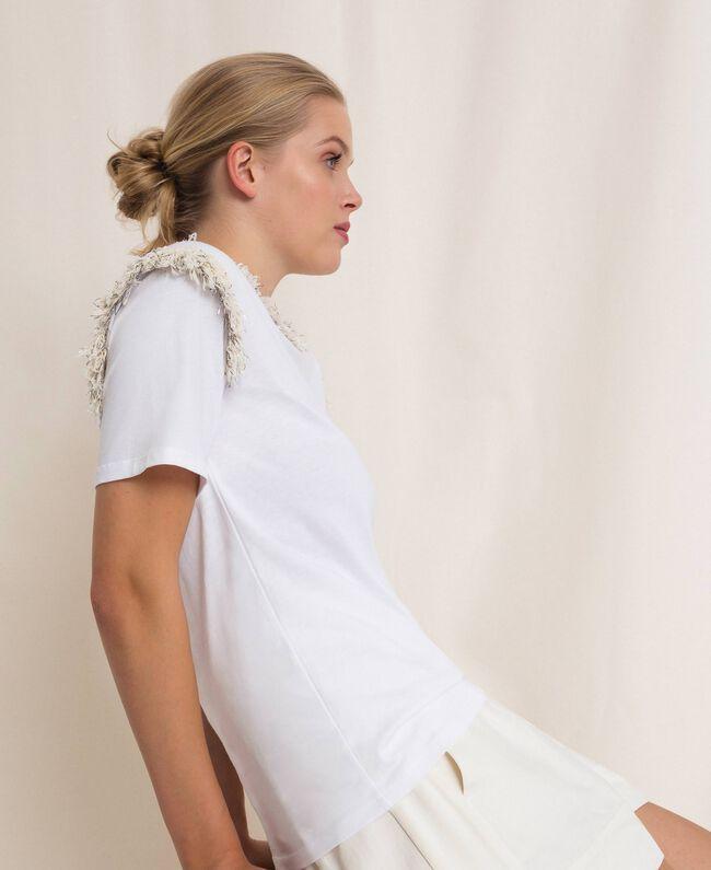 Футболка с бахромой и вышивкой жемчугом Белый женщина 201TP2210-04