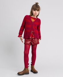 Two-tone striped mohair cardigan Ruby Wine Striped Jacquard / Red Child 192GJ3221-0T