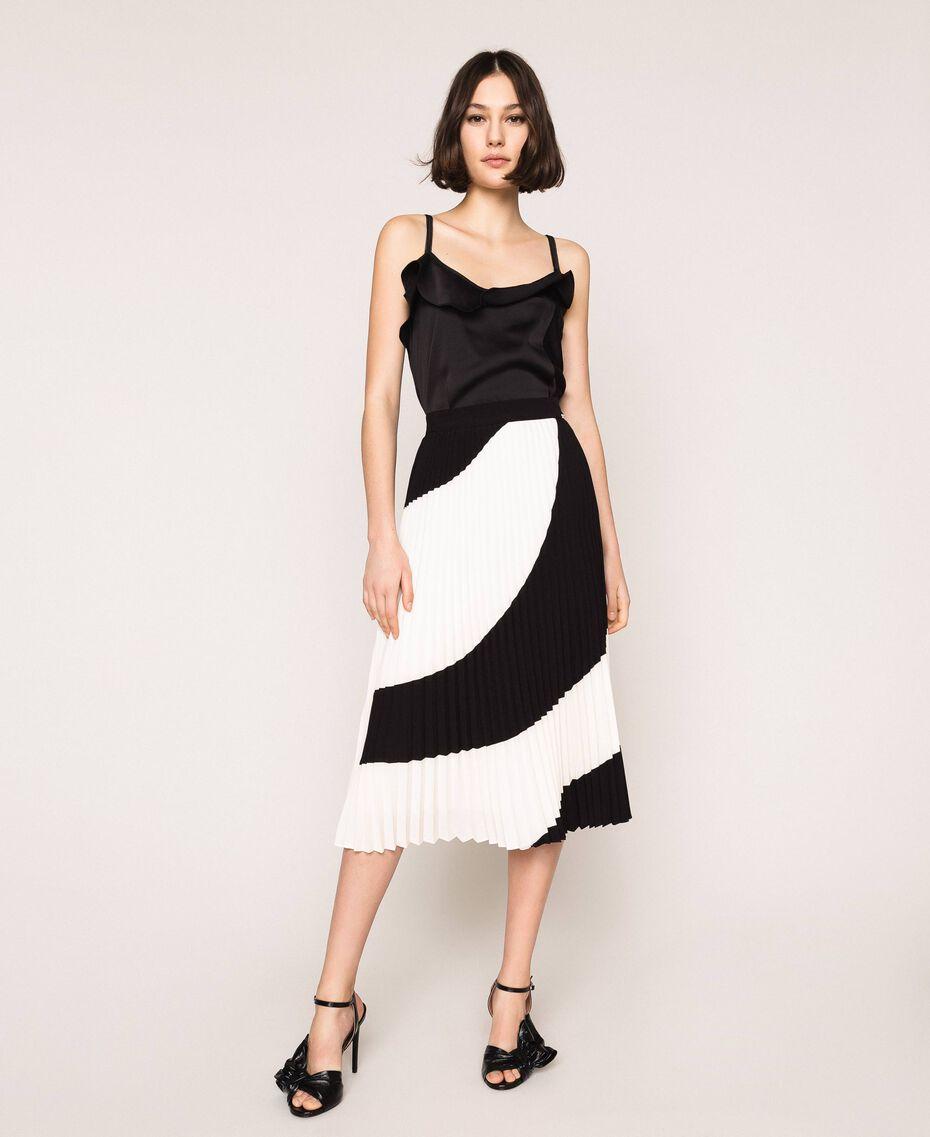 "Pleated crêpe de Chine midi skirt Two-tone ""Silk"" White / Black Woman 201ST2013-02"