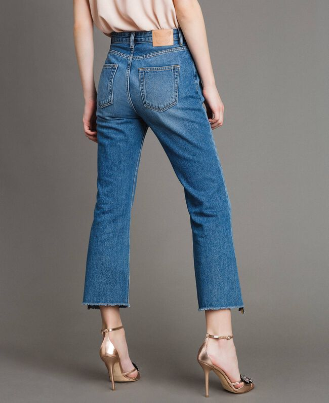 Bell bottom jeans with contrasting inserts Medium Blue Denim Woman 191TP2533-04