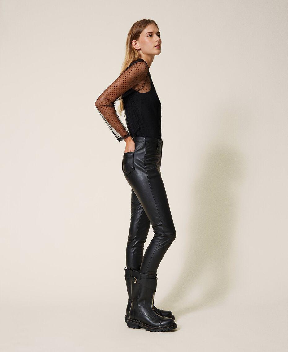 Pantalón pitillo de piel sintética Negro Mujer 202MP2081-01