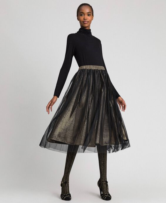 Metal effect midi skirt with tulle