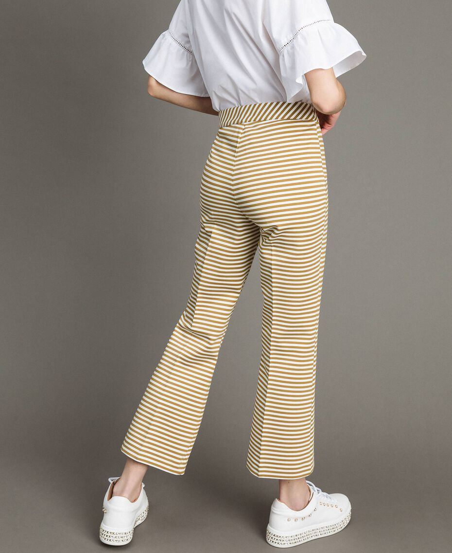 Two-tone striped wide leg trousers Blue Shadow / Off White Striping Woman 191ST2035-03