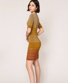 Striped lurex yarn dress Multicolour Gold Stripes Woman 201TT3090-02