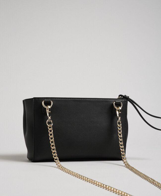 Sac à bandoulière en similicuir avec perles et chaînes Noir Femme 192MA7052-03
