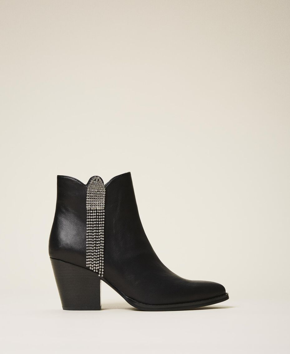 Ankle boots with rhinestone fringe Black Woman 202MCT062-01