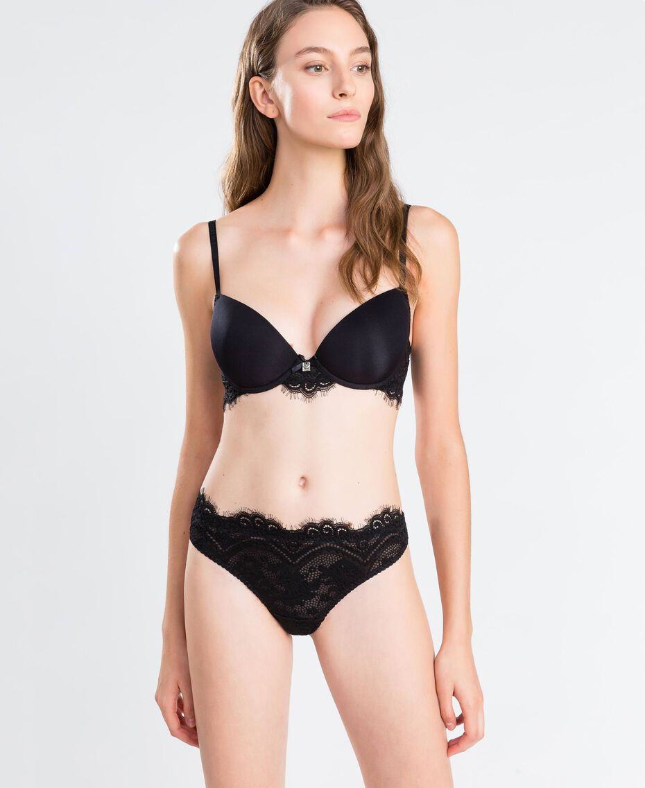 Smooth push-up with scalloped lace Black Woman IA8C33-02