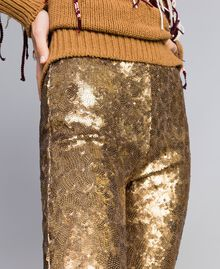 Sequined trousers Gold Yellow Woman QA8TEF-05