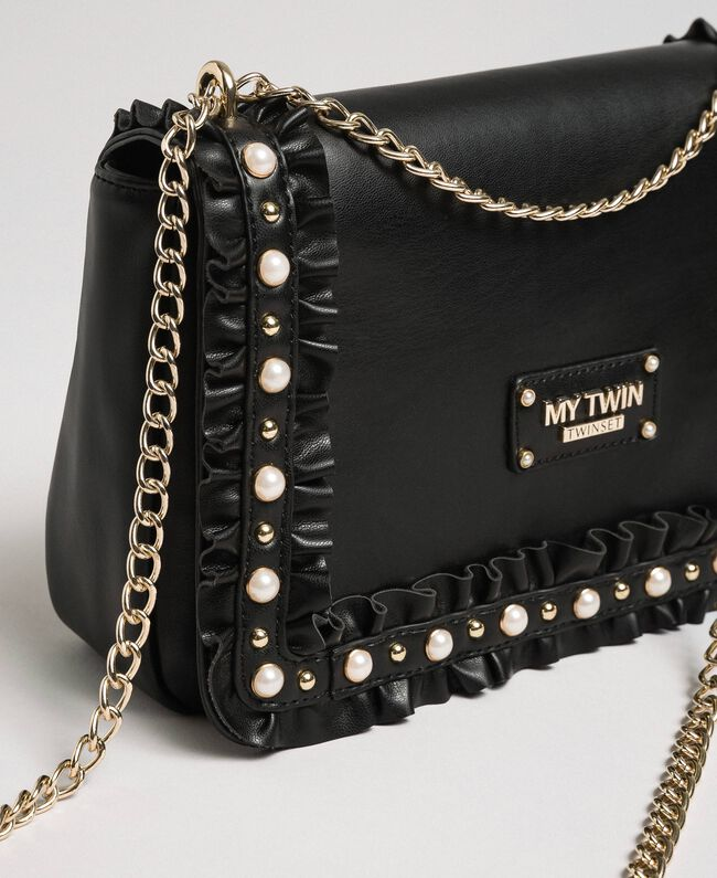 Shoulder bag with flounce and pearls Black Woman 192MA7063-04
