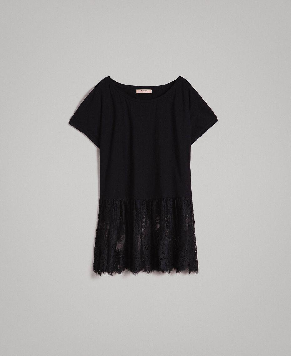 Maxi t-shirt avec dentelle Blanc Femme 191TP260G-0S