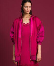 Maxi sweat en satin avec dentelle et franges Rouge Amaranth Femme 192MP2270-02