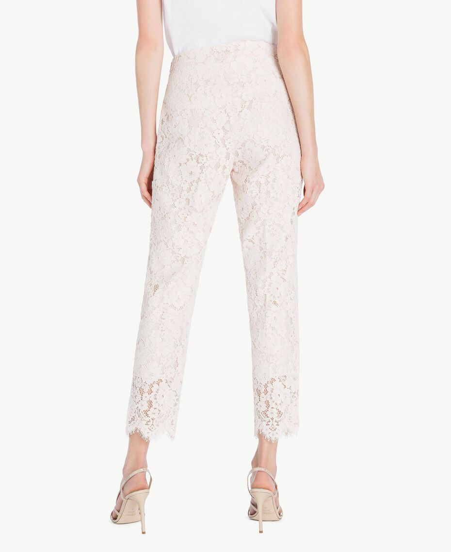 Lace drainpipe trousers Pale Ecru Woman PS82XG-03