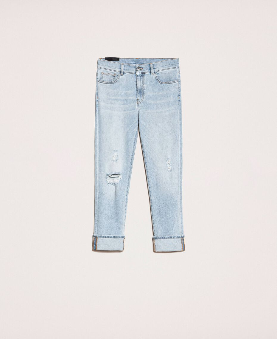 Jeans tomboy con rotture Denim Blue Donna 201MP2274-0S