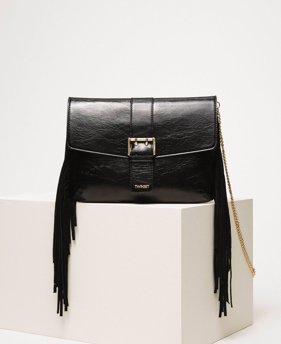 Leather shoulder bag with fringes Black Woman 201TO8142-01