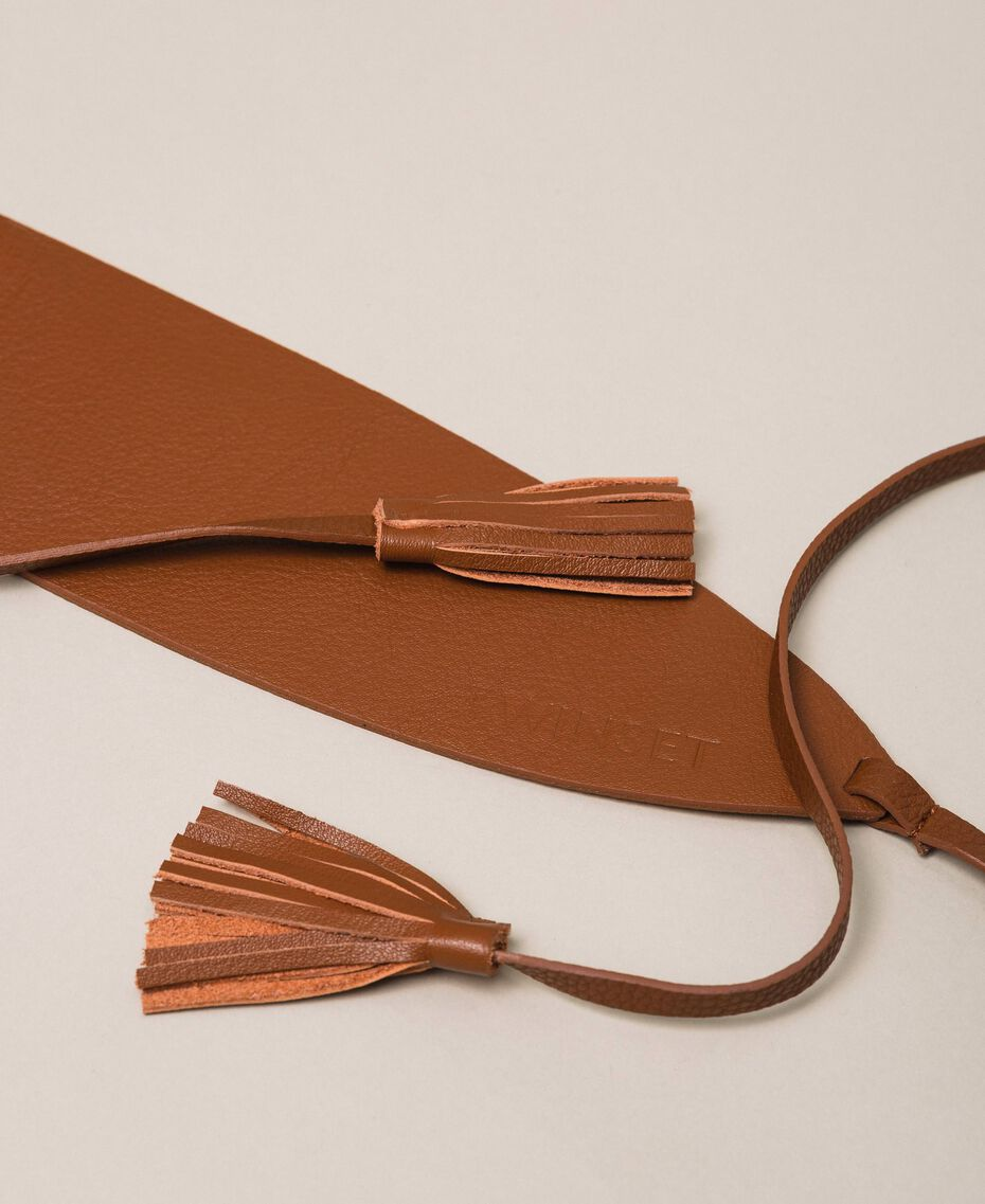 Leather belt with tassels Leather Brown Woman 999TA4320-01