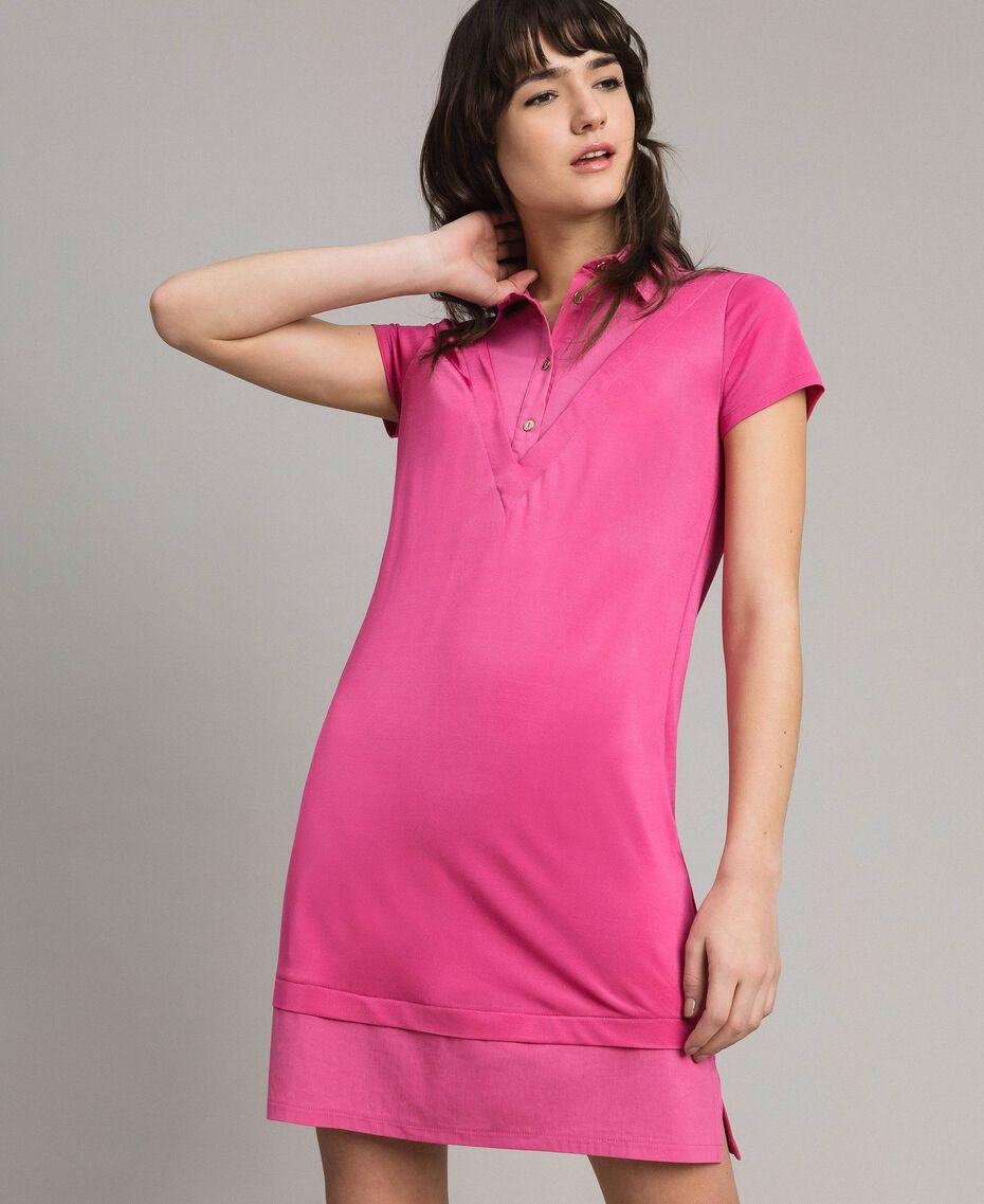 Minirobe chemise en jersey Bouton De Rose Femme 191LL23NN-02
