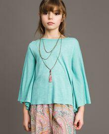 "T-shirt in jersey e collana multicolor Azzurro ""Island Paradise"" Melange Bambina 191GJ2720-0S"
