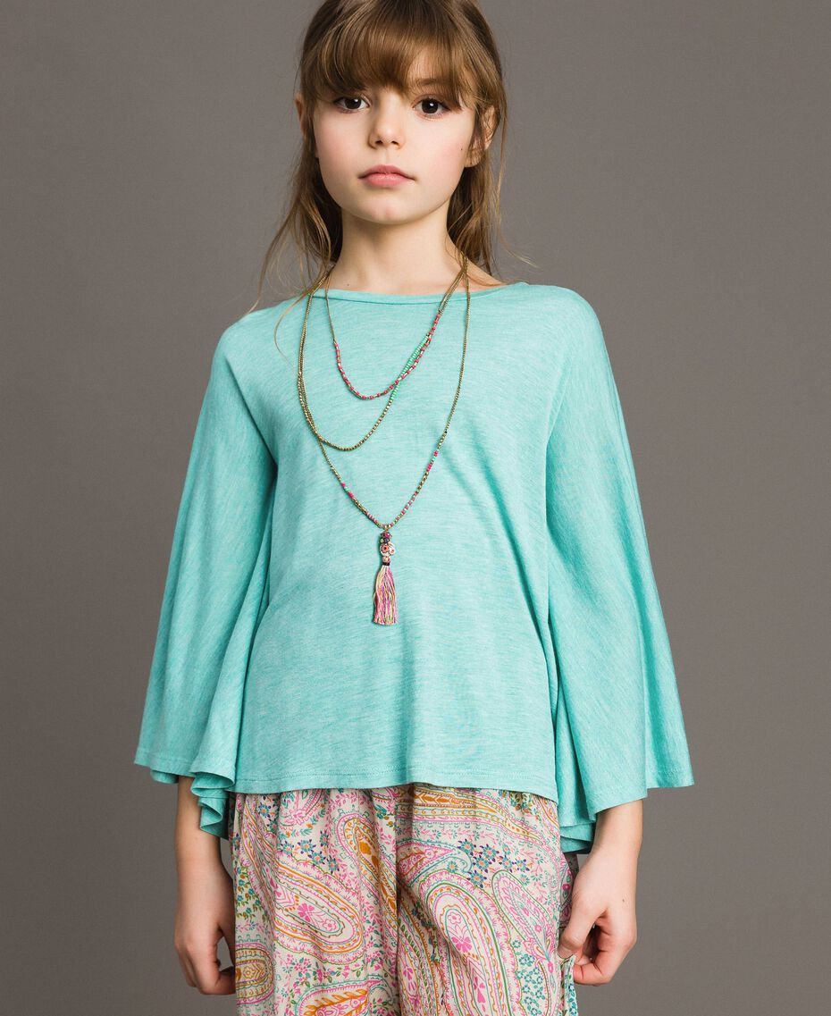 "Jersey T-shirt and multiclour necklace ""Island Paradise"" Light Blue Melange Child 191GJ2720-0S"