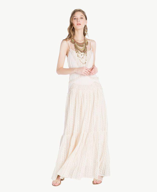 Kleid aus Musselin Perlmutt Frau TS82CE-01