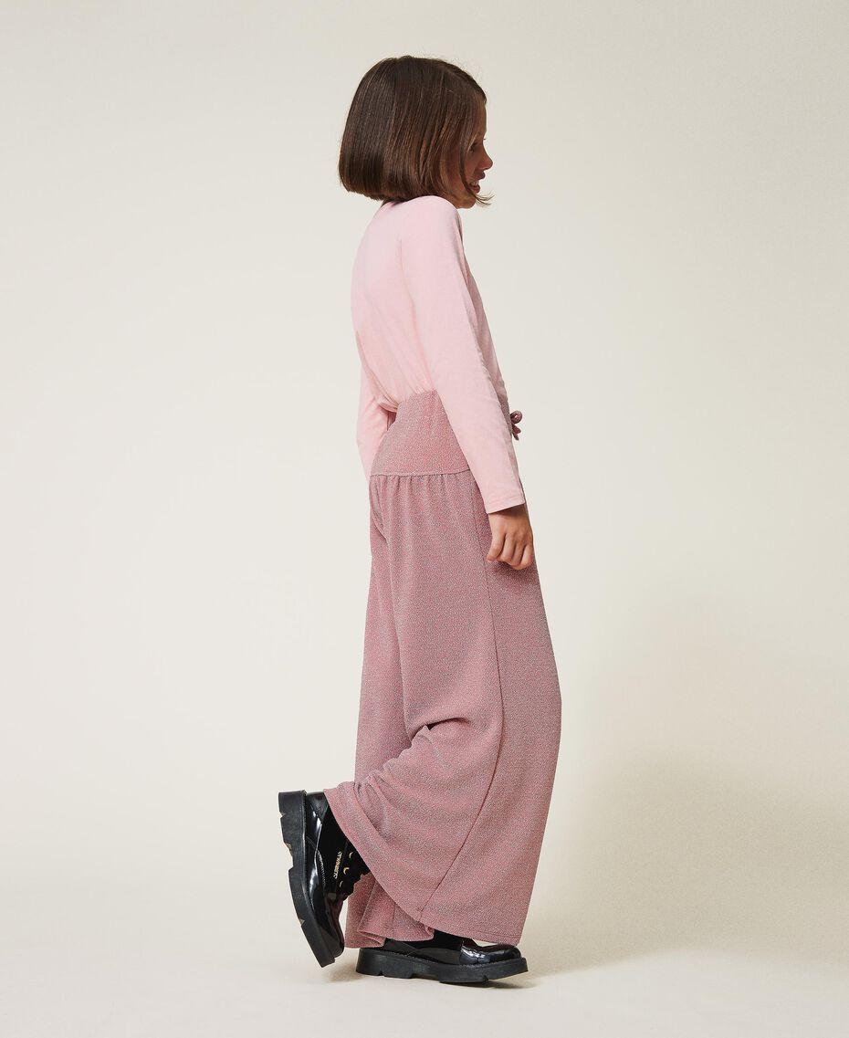 Weite Hose aus Lurex Lurex Matt Pink Kind 202GJ2110-02